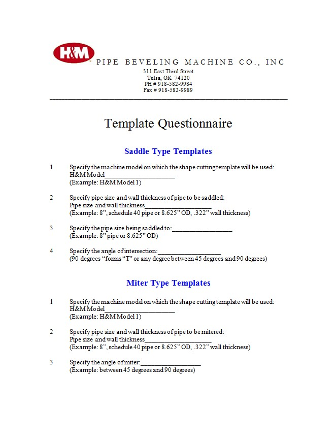 template questionnaire h m pipe beveling machine company inc